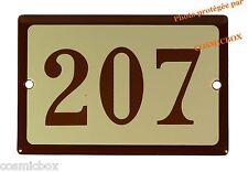 Plaque émaillée marron beige NUMERO de RUE 207 émail enamel plate street number