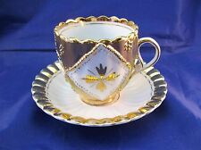 Vintage German Porcelain Tea Cup and Saucer - Gold and White