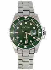 MENS LA BANUS SUBMARINER WATCH STAINLESS STEEL GREEN DIAL 3ATM SILVER DATE UK