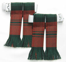 KILT HOSE SOCK FLASHES MODERN KERR TARTAN FRINGED WOOL MADE IN SCOTLAND KILTS