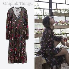 ZARA BLACK EMBROIDERED FLORAL LONG SHEER TUNIC DRESS SIZE UK 8 S REF 3440/246