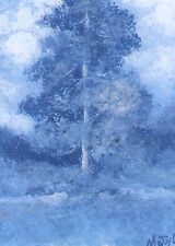 ACEO blue tree landscape original painting by MOTYL