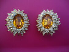 Vintage 80's Christian Dior Orange & Gold Crystals Starburst Sun Clip earrings