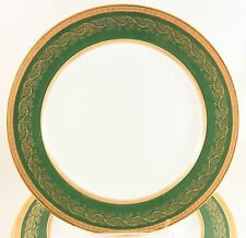 FAB SET 4 DINNER PLATES WEDGWOOD BONE CHINA X4467 RAISED GOLD ENCRUSTED GREEN
