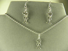 WHIMSICAL  MICKEY MOUSE TIBETAN SILVER CHARM NECKLACE & EARRING SET