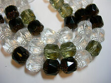 20 Crystal, Smoke, Black Mix Cathedral Czech Glass 10mm beads
