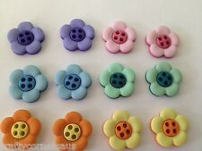 Flower shaped Buttons Two Tone 4 Hole Flat Daisy by Dress It Up 6948