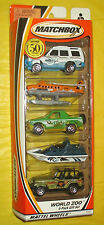 NEW Matchbox World Zoo 5 Car Pack Gift Set Factory Sealed MIB Free Shipping !