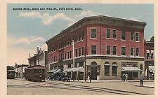 Marble Building Main and Wall Streets in Fort Scott KS Postcard