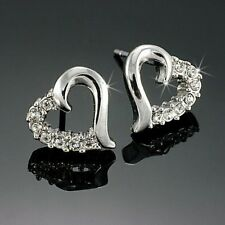 18k White Gold GP Austrian Crystal CZ Heart Earrings Studs E115a