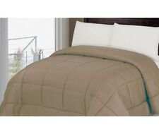 LUXURIOUS SOFT REVERSIBLE COMFORTER, EMBOSSED DOBBY STRIPE, BROWN, QUEEN KING
