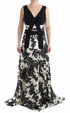 NWT $1800 CEDRIC CHARLIER Black White Long Dress Gown Printed Gown Ball IT42/US8