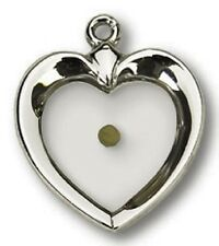 Solid .925 Sterling Silver Heart with Mustard Seed Medal Pendant Necklace