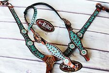 Horse Bridle Western Leather Headstall Breast Collar Turquoise Tack Bling 80194A