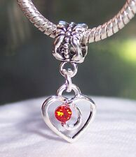 July Birthstone Heart Red Rhinestone Dangle Charm for European Bead Bracelets