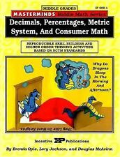 Masterminds Riddle Math for Middle Grades: Decimals, Percentages, Metric System,