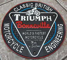 SUPERB HEAVY CAST IRON SIGN TRIUMPH BONNEVILLE WORLDS FASTSEST MOTORCYCLE