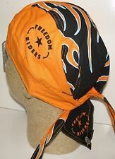 Freedom Rider Orange Black Flames Doo Rag Headwrap Skull Cap Lady Biker Durag