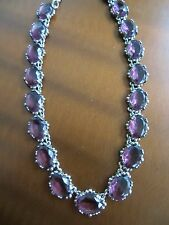 1950s Purple Rhinestone Necklace Purple Faceted Glass Heavy Great Quality Choker