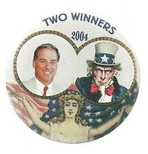 HOWARD DEAN, UNCLE SAM, LADY LIBERTY COLORFUL 2004 POLITICAL CAMPAIGN PIN
