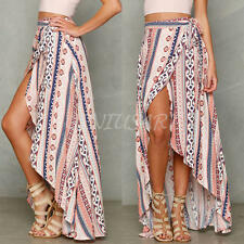 Boho Women Ladies Summer Floral Long Maxi Skirts Casual Beach Dress Sundress UK