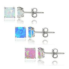 Sterling Silver Multi Color Created Opal Set of 3 Square Stud Earrings Set 4mm
