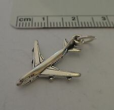 Sterling Silver 3D 23x17mm Airplane Jet Airline Travel Charm
