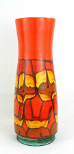 Vintage Large Poole Pottery Delphis Vase 85 Abstract Hand Painted Orange 40 cm