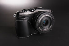 Genuine real Leather Half Camera Case bag cover for Olympus EPL7 E-PL7 Black