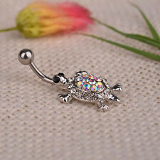 Fashion Crystal Plated Turtle Dangle Piercing Body Navel Belly Button Ring Bar