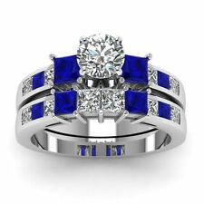 Certified White Diamond & Blue Sapphire 10K Gold Engagement Wedding Ring Set