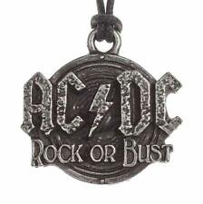 ALCHEMY ROCKS AC/DC LOGO PENDANT NECKLACE PEWTER ROCK OR BUST OFFICIAL