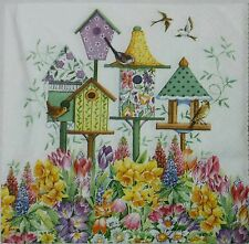 SPRING BIRD HOUSES  2 individual LUNCH SIZE paper napkins for decoupage 3-ply