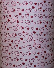 "5 Yards 3/8"" VALENTINE FLOATING HEARTS PRINT GROSGRAIN RIBBON 4 HAIRBOW BOW"
