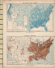 c1880 VICTORIAN MAP ~ THE UNITED STATES ~ SHOWING RAINFALL DENSITY OF POPULATION