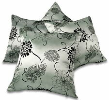 "Set of 4 Black & Silver Taffeta / Faux Silk 18"" / 45cm Cushion Covers BNIP"
