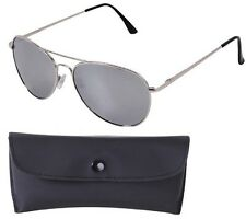 CHROME/MIRROR Aviator Sunglasses Air Force Style Polarized w/ Case - 58 MM 22109