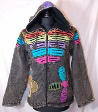 FAIR TRADE GRINGO ETHNIC HIPPY BOHO FESTIVAL FLEECE HOODY JACKET S/M FRPM NEPAL