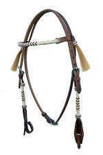Western Natural Rolled Rawhide Braided Browband & Cheek Headstall With Tassel