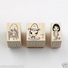 Yoshitomo Nara Art illustration STAMP Set of 3 Design airplane bench girl NEW FS