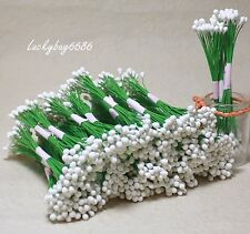 200 White Double Sided Round Flower Stamen Wire wrapped Craft cards Artificial