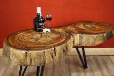 Couchtisch Baumscheibe Akazie Massivholz Beistelltisch Sofatisch Wohnzimmer RAR!