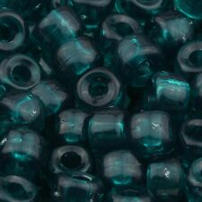100pcs Plastic Pony Beads 9x6mm Transparent Emerald Green for Kandi 11201014