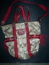 COACH SIGNATURE DAISY POPPY SATEEN KHAKI RED TOTE BAG  Purse  F20101