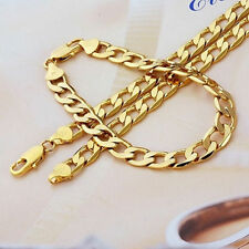 "Real 9k Gold filled Men's Bracelet + necklace 21.5"" Chain Set Birthday Gift"
