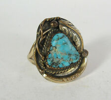 Size 8 Blue Turquoise Ring Handmade 12K Gold Fill Navajo Indian USA Made