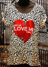 "New-Red Heart ""Kiss Me Love Me Thrill Me""  T Shirt-Black & White Animal Print-8"