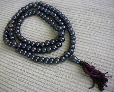 Tibetan Buddhist Prayer Bead Mala 108 Bead Polished Black Bone w/ Guru Bead