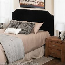 King to Cal King Black Suede Fabric Button Accent Adjustable Headboard