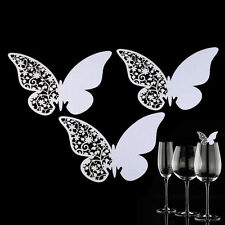 50 x Wedding Butterfly Name Place Card For Wine Glass Cup Laser Cut On Card